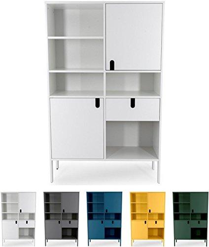 tenzo 8563-001 UNO Designer Buffet Haut 2 Portes, 1 tiroir, Blanc, MDF Particules ép. 19 et 16 mm Panneau arrière laqué. Poignées en matière Plastique, 176 x 109 x 40 cm (HxLxP)