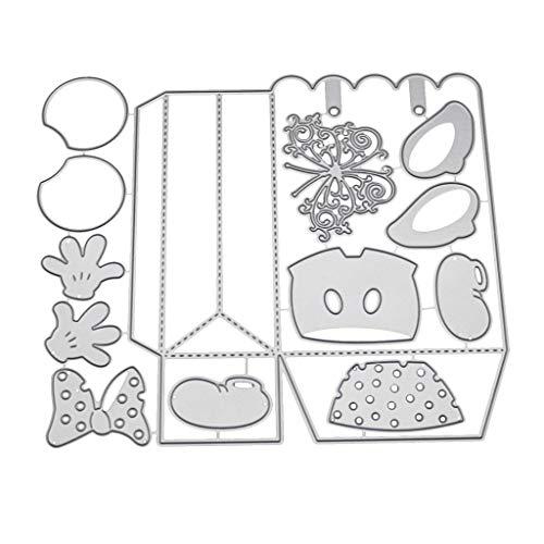 Bhty235 Troqueles de corte, caja de regalo, troqueles de corte para hacer tarjetas, plantillas de bricolaje, álbumes de recortes, tarjetas de papel, repujado, manualidades, decoración