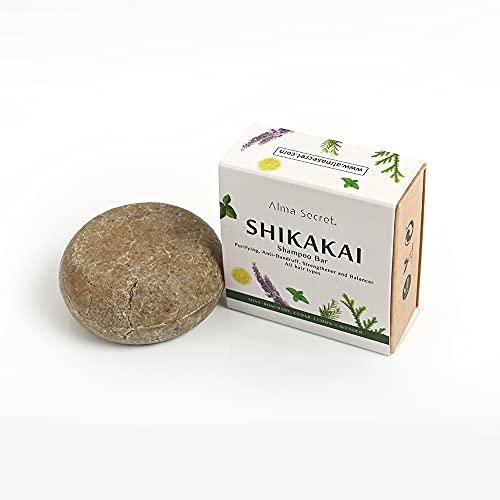 Alma Secret Champú Sólido Shikakai anticaída, anticaspa y control grasa. Para todo tipo de cabellos. Cosmética Natural - 85 gr.