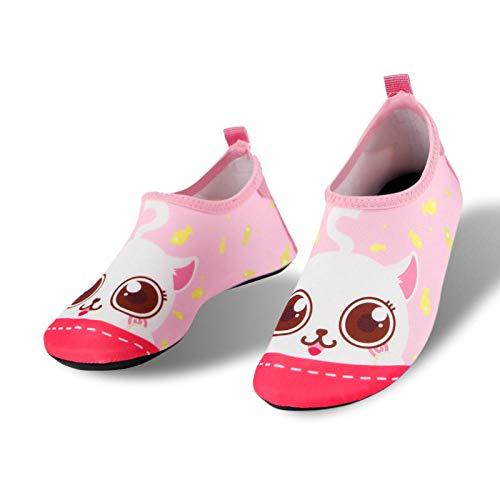 Ourdoor Swim Skin Shoes para la playa, zapatos de playa para niños-3322 Little Meng Cat Powder_26-27 longitud del zapato 16.3cm, zapatos de agua para hombre para mujer descalzo