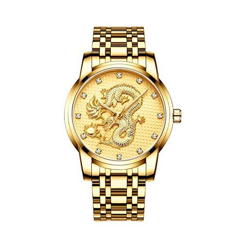 CXJC Reloj deportivo de hombres multifuncionales, reloj de moda de moda de dragón chino 3D, esfera redonda de 41 mm, 3ATM impermeable, resistente al rasguño y resistente al desgaste (Color : C)