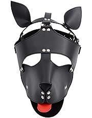 PQB Creative Suppliesdult Supplies Eye Mask Dog Head Cover Mask Dog Head Headgear Negro/Rojo Happy Alternative Toys Jeans T-Shirt