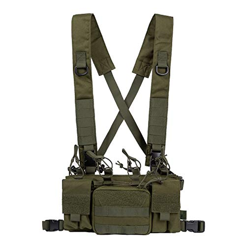 OneTigris Tactical Chest Rig with 5.56/7.62 Rifle Mag Pouches Pistol Mag Pouches and X Harness for Airsoft Shooting Wargame Paintball (Green)