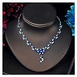LIYDENG Joyería de diseño de moda con forma de flor roja y conjuntos de joyas para mujer (color: azul)