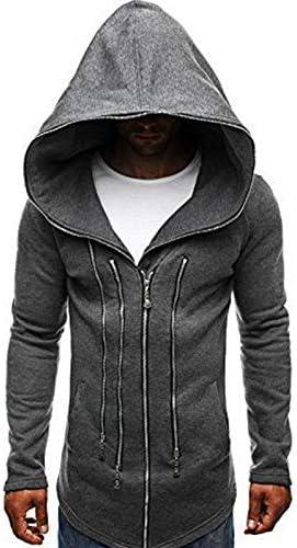 TOOSD Sweat à Capuche pour Hommes, Chandail Sombre Costume Assassin's Creed Zipper Coton mélangé Grande Taille Sweat-Shirt Long,A,M