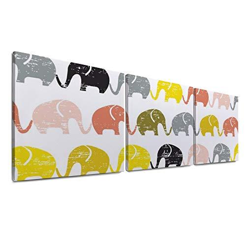 HEOH para Sala de Estar Baño Moderno 12x12 Pulgadas x 3 Piezas 3 Paneles Elefante Colorido Decoración de la Pared Biblia Láminas giclée Estirado y Enmarcado