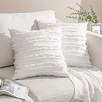 Noledar Decorative Boho Throw Pillow Covers Linen Square Cushion Covers 20 x 20 Set of 2 for Living Room Car Sofa Withe