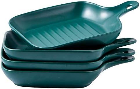 Bruntmor Set Of 4 Matte Glaze Ceramic Food Serving Plate With Skillet Look Handle Baking Dish product image