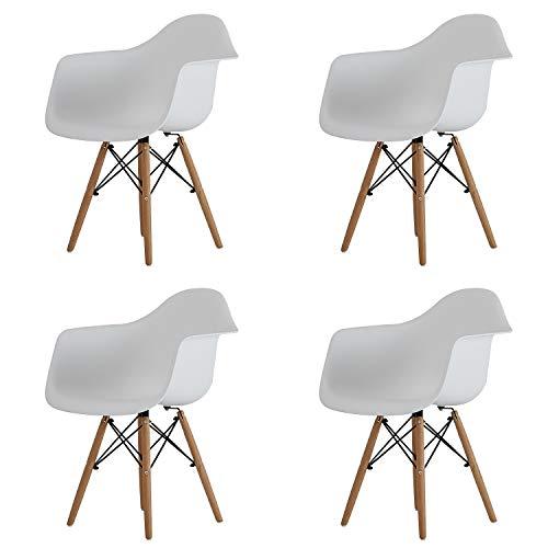 Juego de 2 piezas, silla de comedor nórdico, sala de estar, ocio, moderno, suave, silla para el hogar, cómoda para computadora con respaldo de reposabrazos (blanco, D, 4)