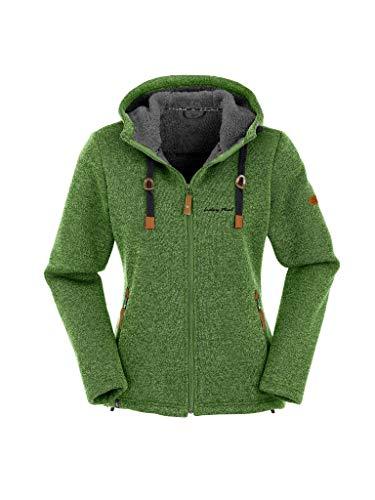 Maul Damen Chieming mit Kapuze Polar-Strickfleece Jacke, grün, 36