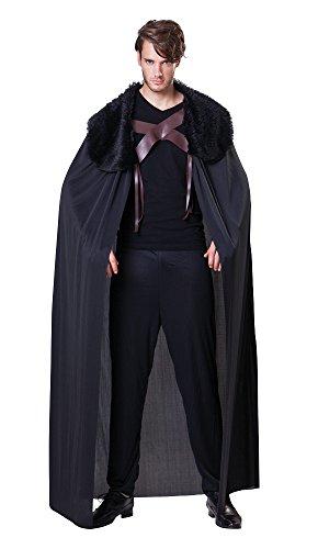 Bristol Novelty AC061 Capa negra de Hombre con cuello de pelo