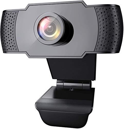 Cámara Web 1080P, con micrófono, Cámara Web para computadora de Escritorio USB 2.0, Corrección automática de luz, Plug and Play, Adecuado para Windows Mac iOS, Video Conferencia, Juegos
