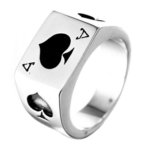 PAURO Uomo Acciaio Inossidabile Asso di Picche Poker Card Fortunato Anello Argento con Smalto Nero Taglia 28