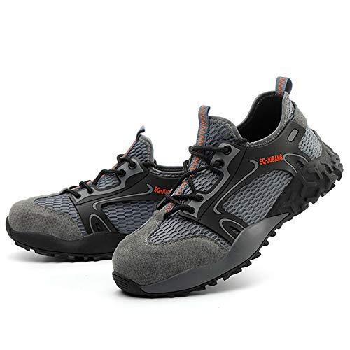 Zapatos de Trabajo,Botas de Seguridad Hombre Mujer Zapatos de Seguridad con Punta de Acero Ligeros Calzado de Industrial y Deportivos Negro Gris,35-47 EU,Zapatos de construcción EU 35-47