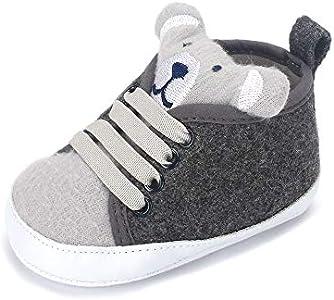 LACOFIA Zapatos Primeros Pasos niños Zapatillas de Cordones con Suela Suave Antideslizante para bebé niños Gris 3-6 Meses