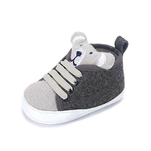 LACOFIA Zapatos Primeros Pasos niños Zapatillas de Cordones con Suela Suave Antideslizante para bebé niños Gris 9-12 Meses