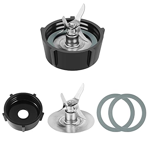 Replacement Parts For Oster Osterizer Blender Blades with 4902 Blender Jar Bottom & 4 Point Fusion Blade 4961 & 2 Pcs O Ring Rubber Seal Gasket