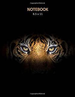 Notebook: Eye Of The Tiger Composition Notebook | Tiger On Dark Background | Back To School Notebooks | College Ruled Note...