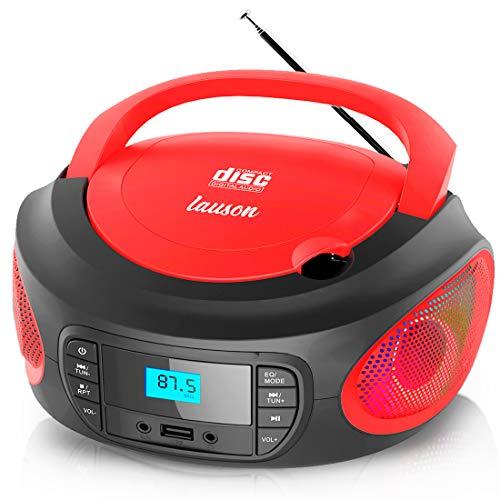 Lauson LLB996 Tragbarer CD-Player, LED-Discolichter, Boombox, CD Player für Kinder, kinderradio mit cd und USB, CD-Radio mit LCD-Display, Netz & Batterie, Rot