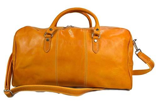 Duffle bag genuine leather shoulder bag yellow mens ladies travel bag gym bag luggage made in Italy weekender duffle overnight bag women's duffle bag