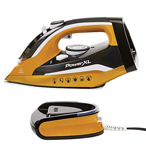 PowerXL Cordless Iron and Steamer, Iron with Ceramic Soleplate, Vertical Steam, Anti-Calc, Anti-Drip, Auto-Off, Power Base (Gold)