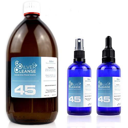 500 ml de plata coloidal (45 ppm) + spray completo de 50 ml y pipeta de 50 ml