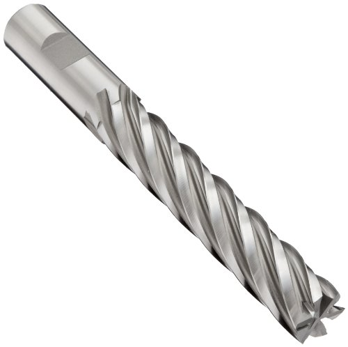 YG-1 - 9322 E2175 Cobalt Steel Square Nose End Mill, Extra Long Reach, Weldon Shank, Uncoated (Bright) Finish, 30 Deg Helix, 6 Flutes, 5