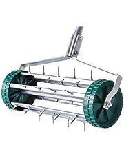 UPP 4063384005074/507 Rolende gazonventilator, handmatige Aerificator, maakt het verluchten, eenvoudig om het gazon te verluchten, robuuste stekelroller werkt zonder stroom en benzine, zilver