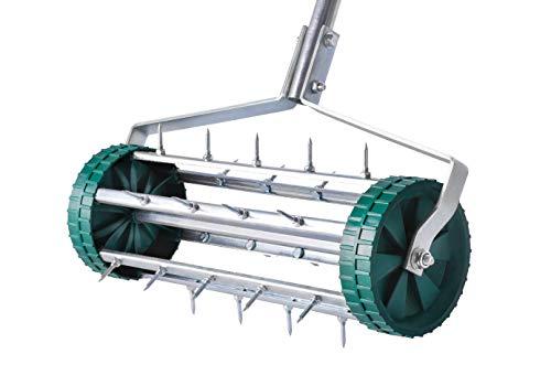 UPP® Rodillo aireador de césped I aireador de césped de Acero I Rodillo de jardín para oxigenar el césped I Rodillo con púas para airear el césped I aireador de césped de Acero con Pinchos