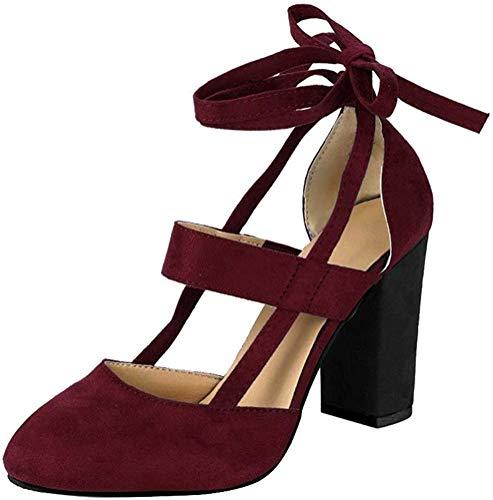 Minetom Damen Einfache Knöchel Riemchen Sandalen Schnüren Sich High Heels Party Chunky Pumps Stiefel Sandaletten Weinrot EU 40
