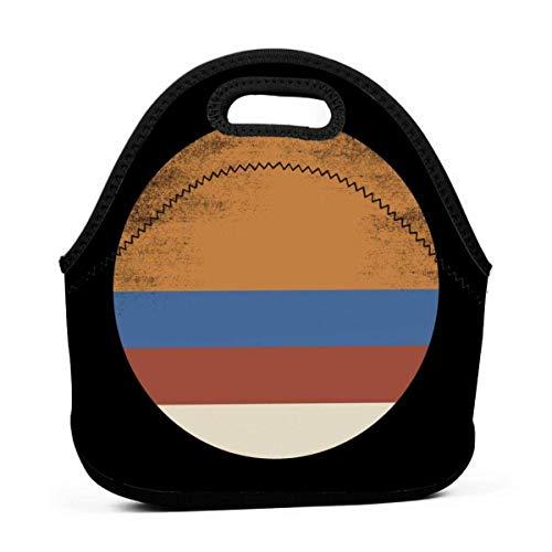 Fiambrera reutilizable de la comida campestre de la prenda impermeable de la bolsa de asas del almuerzo de los años 70 Sun