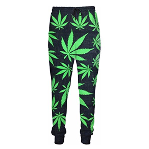 FR-pants-personality Hommes Pantalons Vert Weed Imprimer 3D Hommes Femmes Casual Pantalon De Jogging Color as The picture1 XXXL