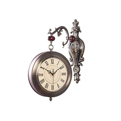 WHQ Reloj de Pared de Doble Cara, silenciado a batería, sin tictac, Sala de Estar Creativa, Reloj de Cuarzo de Metal silencioso QD (Color : A)