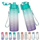 lalafancy Borraccia Sportiva Senza BPA Tritan Plastic Bottiglia Acqua 900ml Bottiglia da Palestra con Indicatore del Tempo Motivazionale Ideale da Corsa, Ciclismo, Scuola, Campeggio
