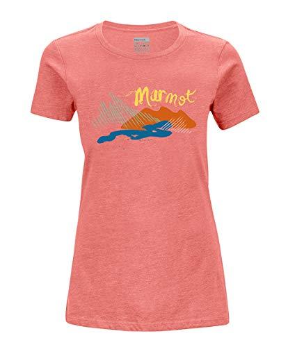 Marmot Wm's Esterel Tee Short Sleeve T-Shirt Manche Courte, Chemise de randonnée, idéal pour Le Sport, la Gym, séchage Rapide, Respirant Femme Flamingo Heather FR : XS (Taille Fabricant : XS)