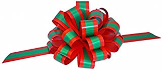 Red Green Striped Christmas Bows - 8