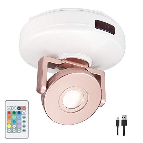 HONWELL LED Spot Lampe Kabellose Deckenstrahler mit Fernbedienung, Wiederaufladbar Wandspot Dimmbar Akzentbeleuchtung mit drehbarem Kopf für Schlafzimmer Beleuchtung Dartscheibe Spiegelanstrich
