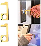 YAMY 2 PCS Hygienic Brass Door Opener Closer, No-Touch Elevator Press Stick Button Pusher Tool, Reusable Public Drawer Handle Gadgets, EDC Door Opener, Safety & Health, Easy To Carry (Gold)