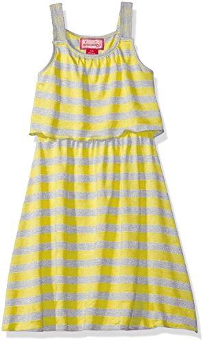 Dream Star Girls' Toddler Lurex Stripe Popover Dress, Yellow, S/2T