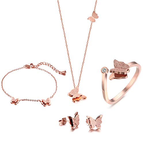VNOX Butterfly Matte Finish Rose Gold Plated Stainless Steel Bracelet Ring Necklace and Stud Earrings Jewelry Set for Women