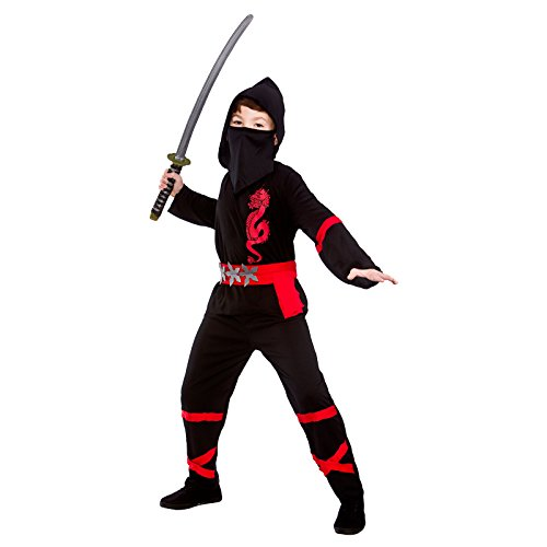 Boys Power Ninja Black Red Fancy Dress Up Party Costume Halloween Child Outfit