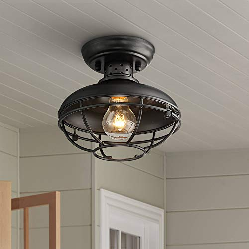 Franklin Park Modern Farmhouse Vintage Outdoor Ceiling Light Fixture Black 8 1/2