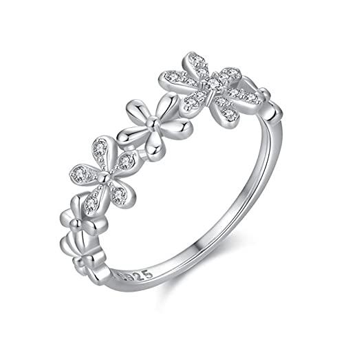 KnBoB Anillos Mujer Plata 925 Anillo Diamantes de Imitación Margarita Regalo de Joyería para Pareja Talla 12