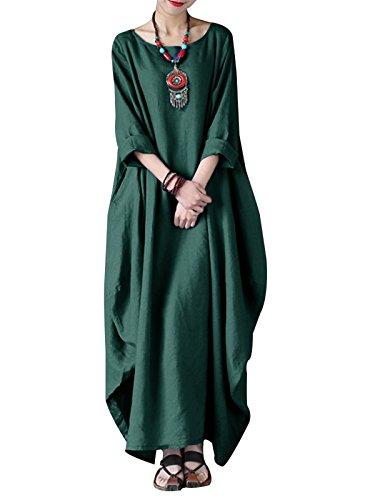 VONDA Kleider Damen Baumwolle Kleid Lang Leinenkleider Langarm Kaftan Abaya Maxikleider Oversize Mittelalter Kleid A-Armeegrün M