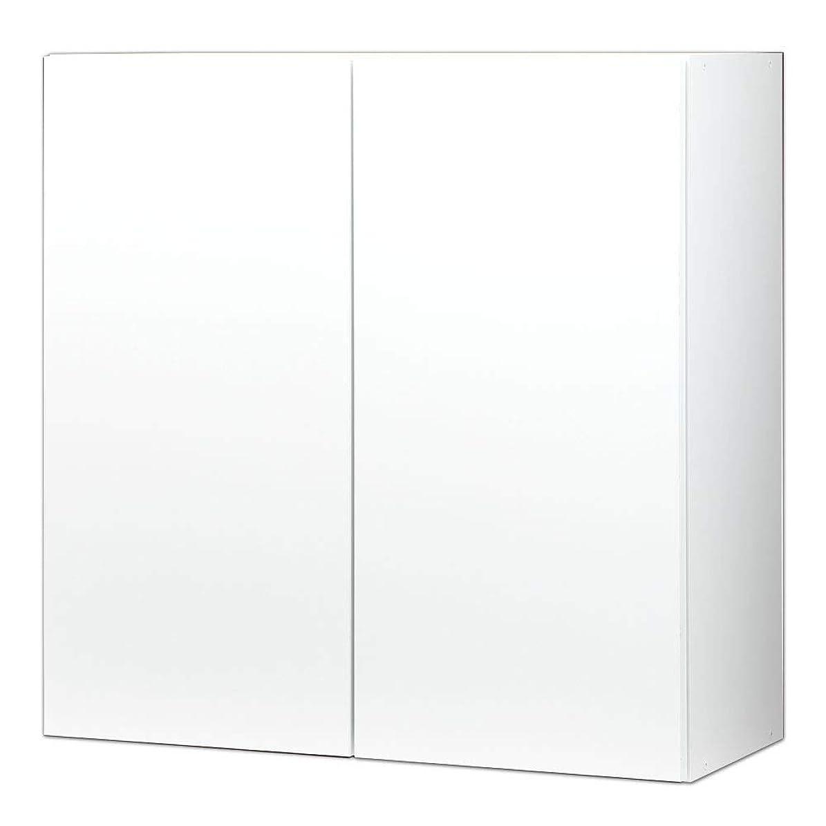 比喩サイバースペースマイクロプロセッサぼん家具 【完成品】 日本製 壁面収納 扉付き 本棚 キャビネット 〔幅75cm 上置き棚〕 ホワイト