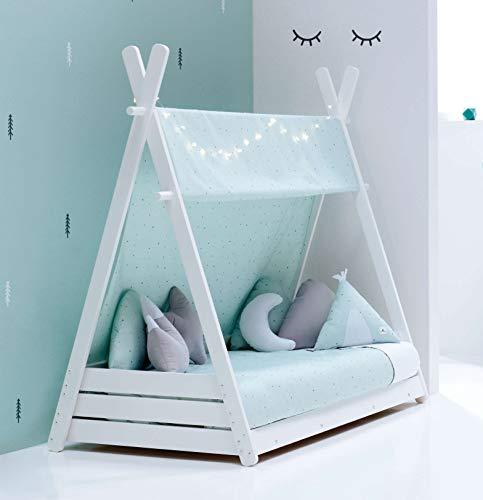 ALONDRA - Cama Montessori infantil para niños 70x140 completa de madera blanca. Incluye: toldo, nórdico y cama estructura casita tipi con somier, textiles verde menta HOMY-13 Mint.