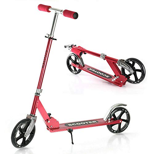 Folding Kick Scooter with 200mm Large Wheels- Portable Adjustable Height Up to 42 Inches High for 8 Years and Up Kids Teens Adults- 220 Lbs Weight Capacity (Red)