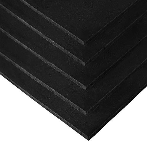 IncStores Premium 3/8in x 4ft x 6ft Rubber Gym Flooring Mats Vulcanized Rubber Flooring Equipment Mats (Black - 5 mats)