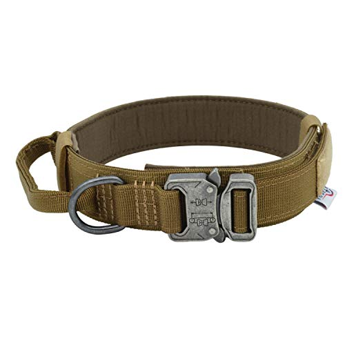 TUBERK Tactical Dog Collar, Military Training Control Handle, Adjustable, Velcro Area, Naylon Dog Collar (L (17'- 20,5'), Brown)