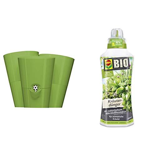 Emsa Trio Kräutertopf für frische Kräuter, Selbstbewässerung, Wasserstandsanzeiger, 27 x 25 x 21 cm, Hellgrün & Compo Bio Kräuterdünger für alle Gewürzpflanzen und Kräuter, 500 ml